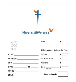 church donation envelope printing